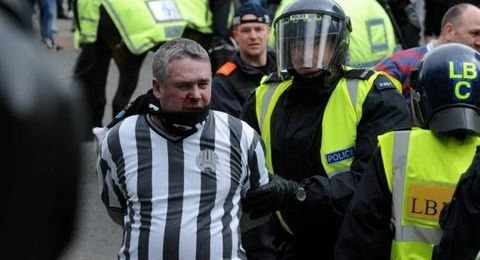 Police horse punched in the face by football fan